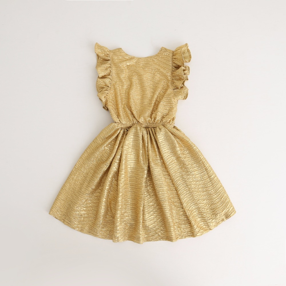 a54ad30ece9c Promotion Baby Girls Puff Sleeve Gold Silver Summer Dresses, Princess Kids  Party Dance Dress, wholesale
