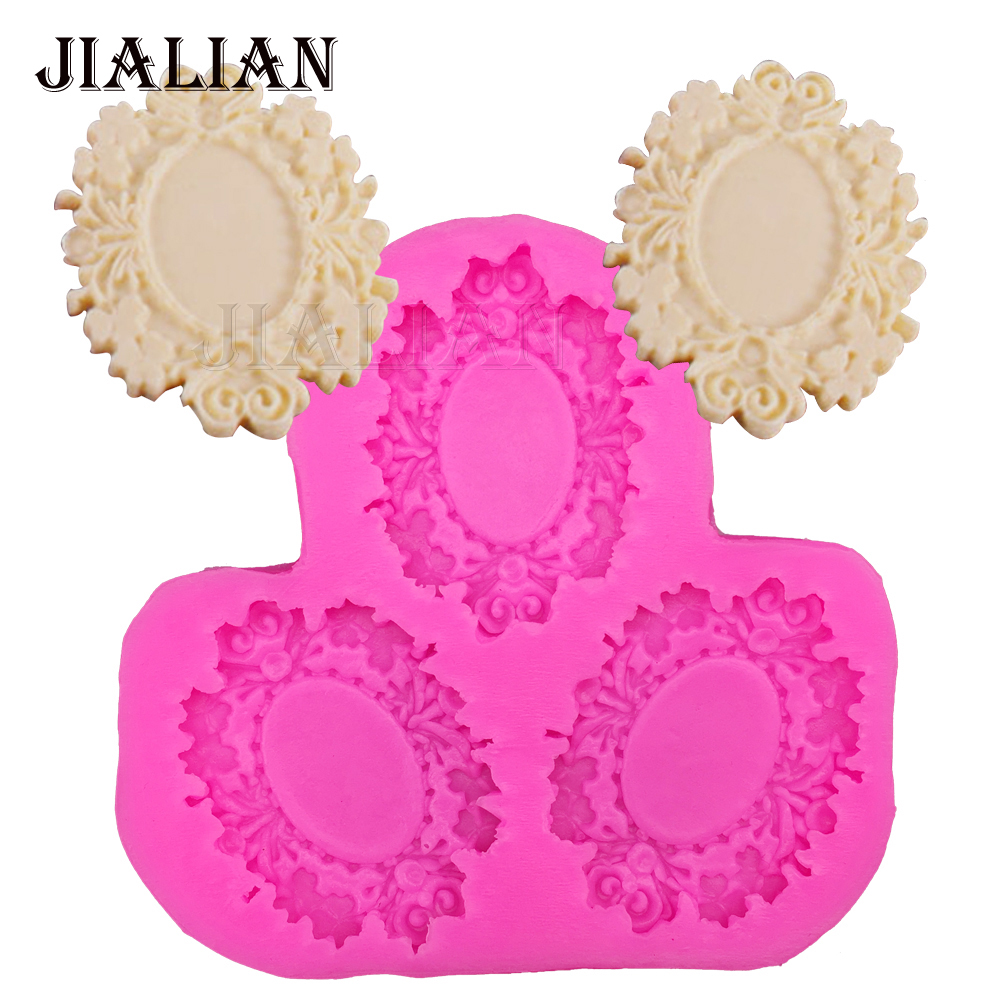 Lace photo frame chocolate Party cake decorating tools DIY flower fondant silicone mold Stick Cookware Bar Non Stick T0267