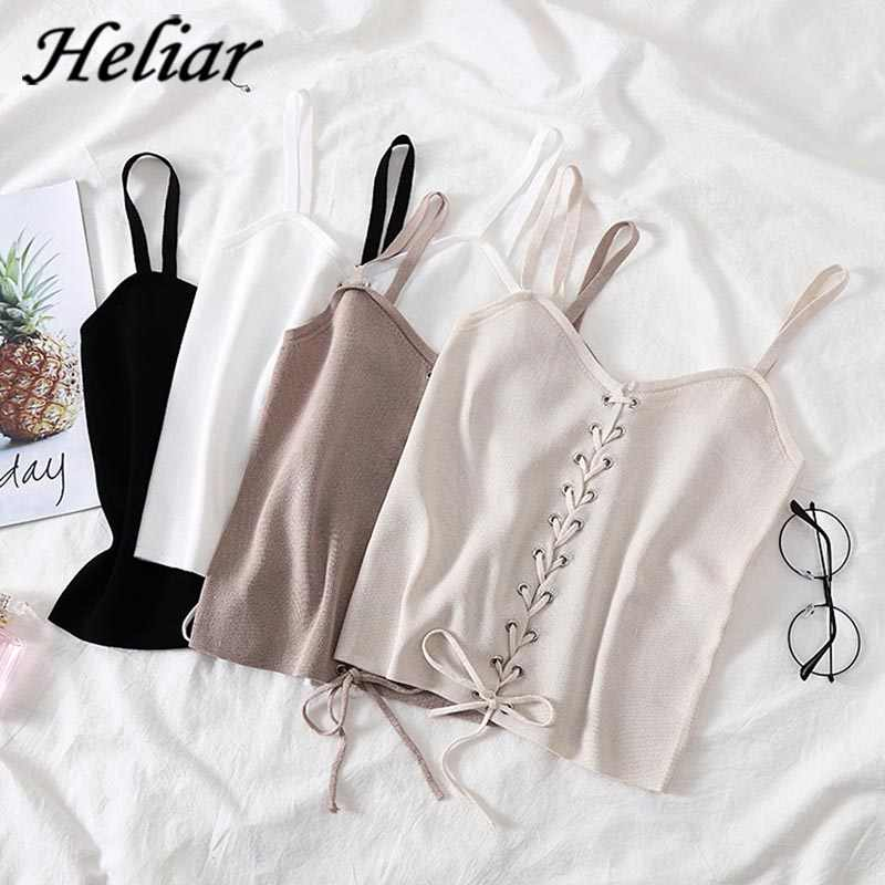 HELIAR Female Cami 2019 Summer Drawstring Crop Top Femme V-neck Vest White Tank Tops Femme Cotton Knitting Women loose Tank Tops