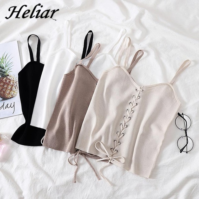 HELIAR Drawstring Crop Top Female Camis V neck Vest White Stretchy Tank Tops Femme Club Sexy Knitting Skinny Tank Tops Women