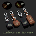 Genuine Leather Car Keychain Key Fob Case Cover ForMITSUBISHI OUTLANDER Lancer EX ASX Key Holder Rings wallet Auto Accessories