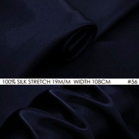 SILK STRETCH SATIN 19mm Width 42 108cm Natural Silk Spandex Fabric for sewing Vestidos Wedding decoration NO56 Dark Blue Fabric