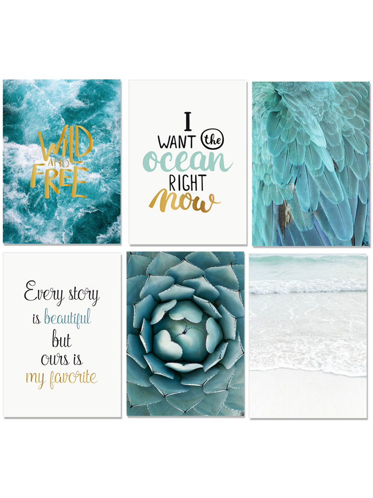 Image 5 - Seawater Ocean Wall Art Canvas Painting For Living Room Nordic Poster Letters Quotes Decoration Wall Pictures Unframed-in Painting & Calligraphy from Home & Garden