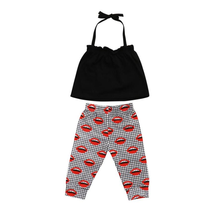 2 Pack Baby Sling Back Girl Top + Lip Print Pants Pants Suit Baby girl summer clothes #xxf
