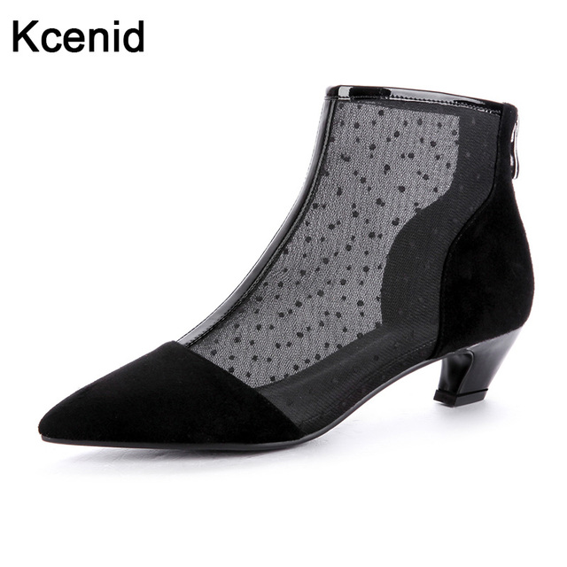 9ae9f4c2e35 US $40.24 9% OFF|Kcenid 2018 fashion kitten heels ankle boots women cow  suede pointed toe popular mesh shoes woman zipper female boots black  gray-in ...