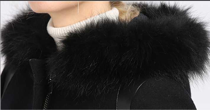 Bootyjeans צמר מעיל חורף חם יוקרה דביבון פרווה צווארון צמר קשמיר נשי מעיל נשים ארוך סלעית צמר מעיל לנשים