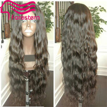 30Inch Human Hair Lace Wigs Loose Wave Full Lace Wig Front Lace Wig Natural Color Middle