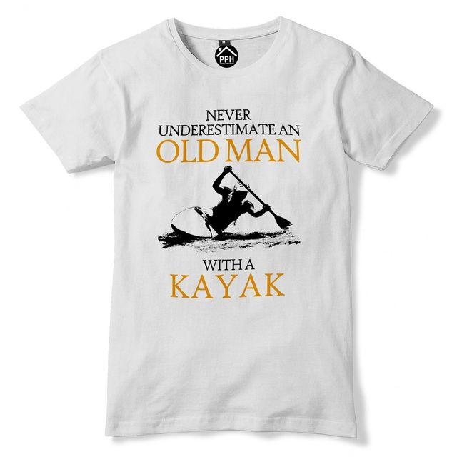 Never Underestimate Old Man KAYAK T shirt Mens Sea Retired Sail Kayaking Top 223