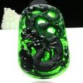 Natural myanmar a cargo jade pendant ink green dragon/Send jade necklace
