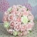 2017 Barato de La Boda/la Dama de honor Ramo de Novia Nuevo Pink & Rose de Marfil Hecho A Mano ramo de Flor Artificial Ramos de mariage la boda