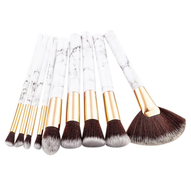 9pcs Marble Stripe Makeup Brushes Set Pro Cosmetic Brush Kits Eyeshadow Powder Foundation Blending Marbling Blusher Brush Tools #3