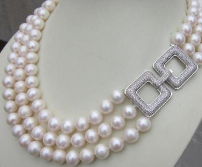 Charming 3 Row AAA natural 8 9mm White Sea South Pearl Necklace 17 19