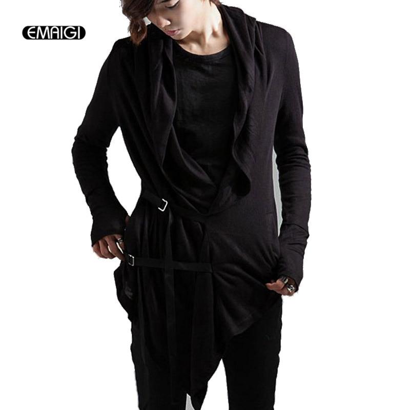 Men Long Sleeve Slim Fit Cardigan Jacket Male Fashion Casual Sweater Coat Hooded Cape Knitwear Punk Rock Stage Costumes