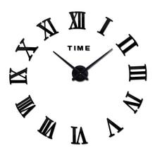 2015 new real home decorations quartz modern wall clock clocks watch horloge 3d diy acrylic mirror stickers free shipping wood