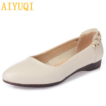 AIYUQI  Genuine leather Women Flats solid slip on casual shoes Spring summer Lady Slip On Loafers comfortable women Casual Shoes