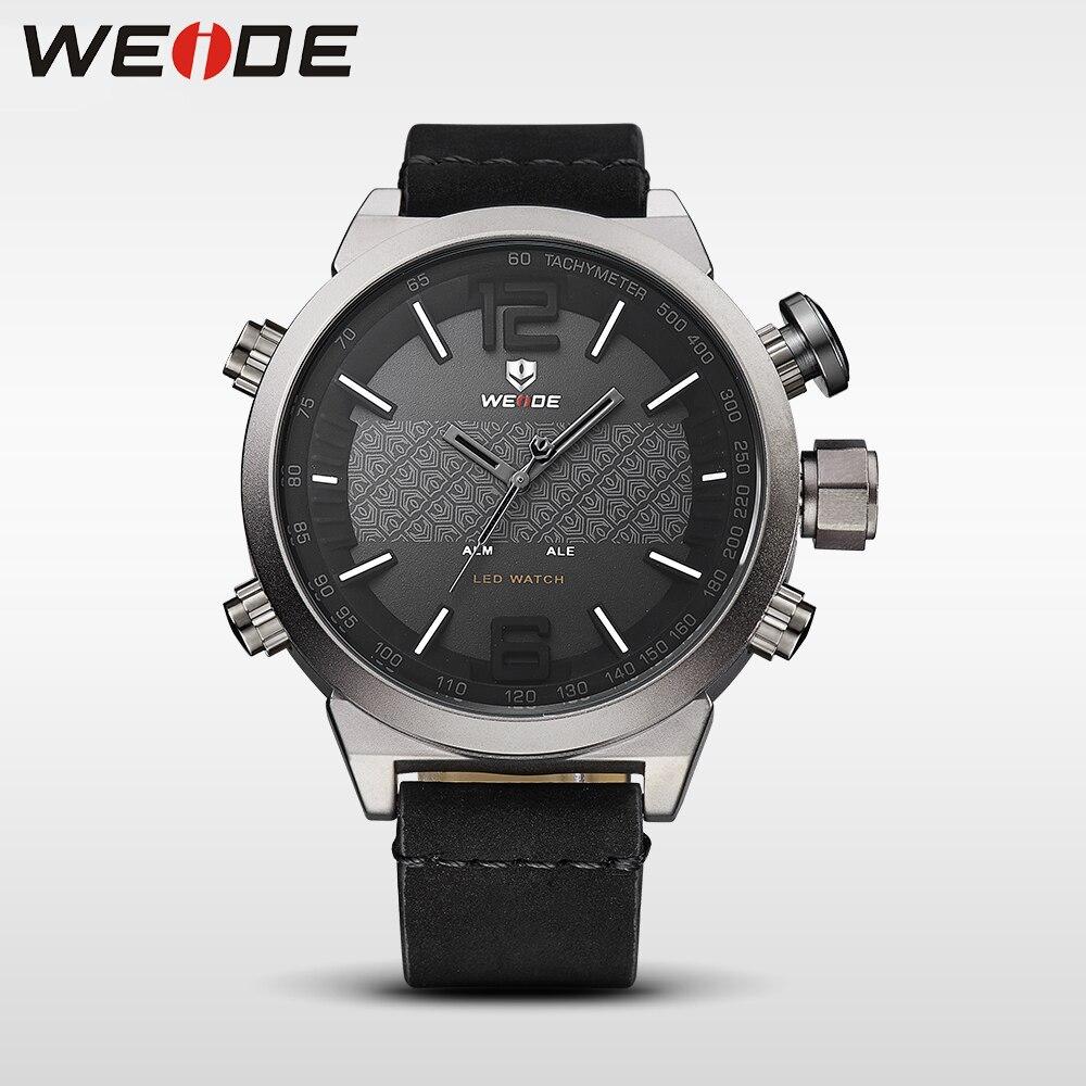 Weide reloj de lujo Relojes de Cuero del deporte LED hombres del reloj analógico digital masculino automático resistente al agua
