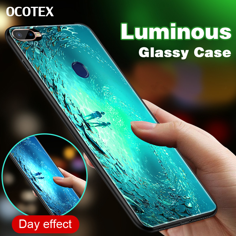 brand new adad3 88941 US $4.19 16% OFF|Marine Fish Luminous Tempered Glass Phone Case For OPPO F9  F9 Pro A7X Soft Edge Silicone Couple Back Cover For OPPO F9 Pro Shell-in ...