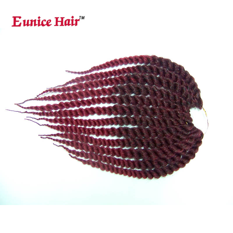 Eunice Hair TWO TONE colors ombre burgundy/brown Havana Twist Crochet braids Synthetic Braiding Hair Extension 3pcs/lot