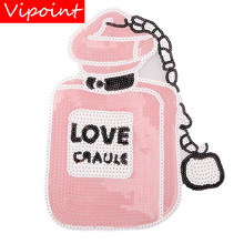 embroidery sequins love perfume patches for jackets,badges jeans,appliques coats A216