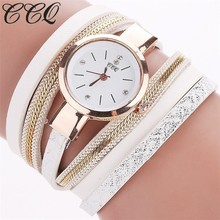 font b 2017 b font CCQ New Fashion Leather Bracelet Watches Casual Women font b