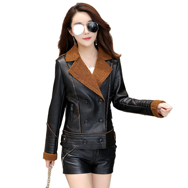 Autumn Winter 2018 New Fashion Leather PU Jacket Coat fashion Black green brown Double Breasted short