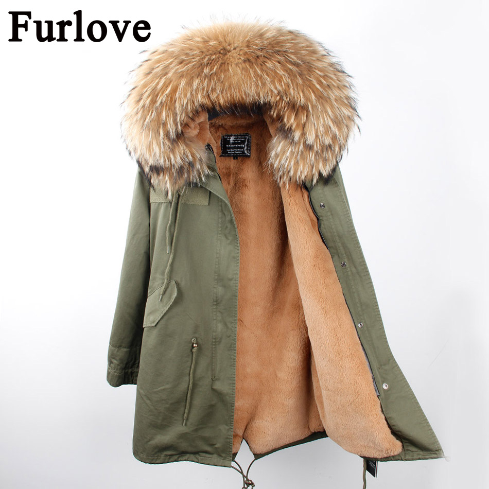Furlove women's army green Large color raccoon fur hooded coat parkas outwear long detachable lining winter jacket brand style zoe saldana 2017 winter jacket women detachable lining natural large fur hooded army green cotton coat outwear thick warm parkas