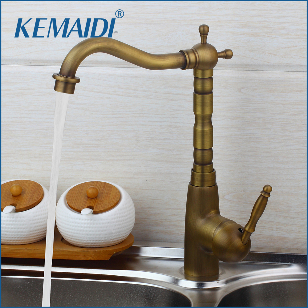 KEMAIDI Elegant Single Handle Antique brass Finish Kitchen Sink Swivel Faucet Mixer Taps Vanity Brass Faucet Mixer Tap Faucets antique brass kitchen faucet bronze finish water tap kitchen swivel spout vanity sink mixer tap single handle free shipping 6020