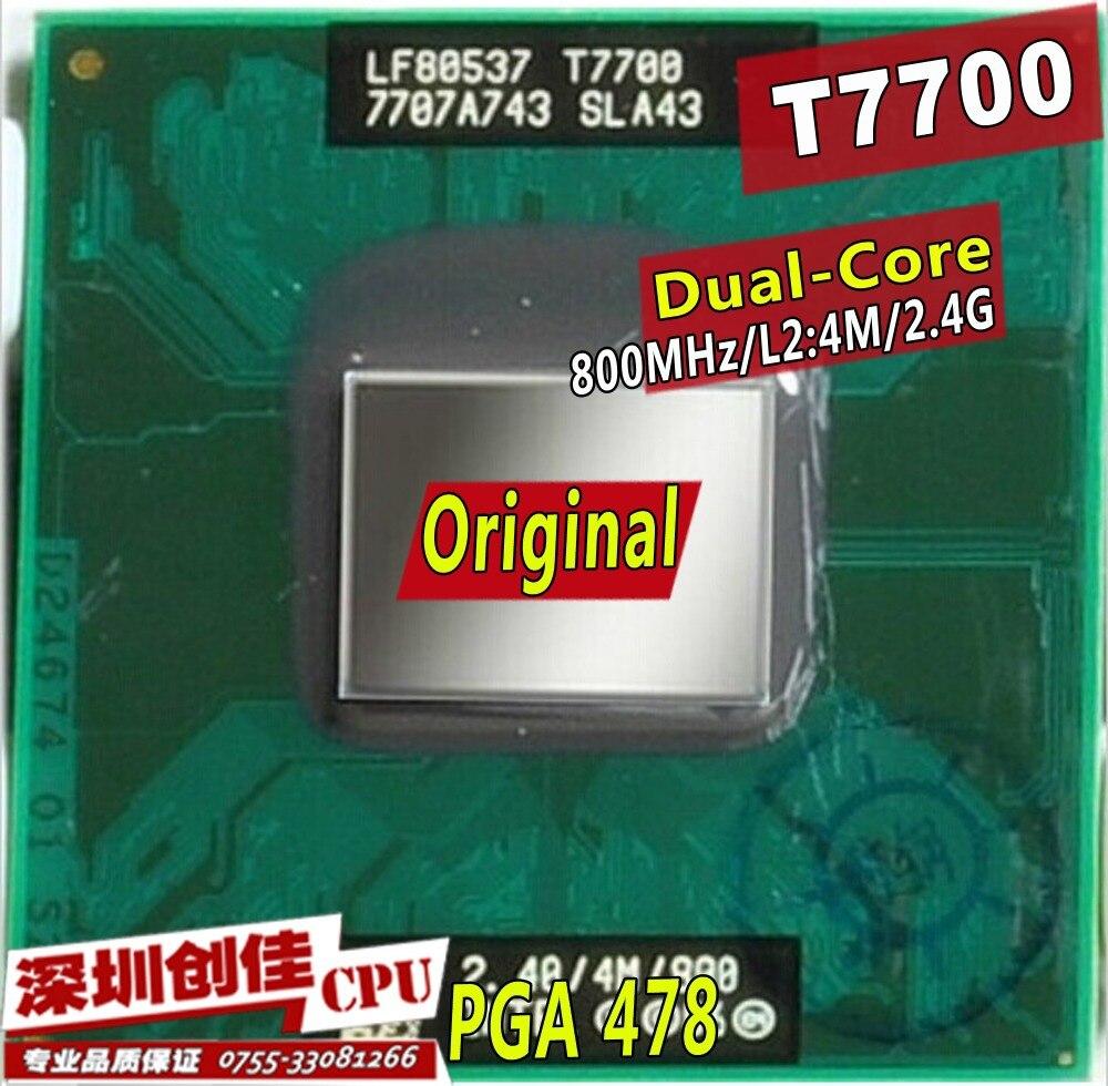 D'origine intel CPU ordinateur portable Core 2 Duo T7700 CPU 4 M Socket 479 Cache/2.4 GHz/800/Dual-Core Ordinateur Portable processeur soutien 965