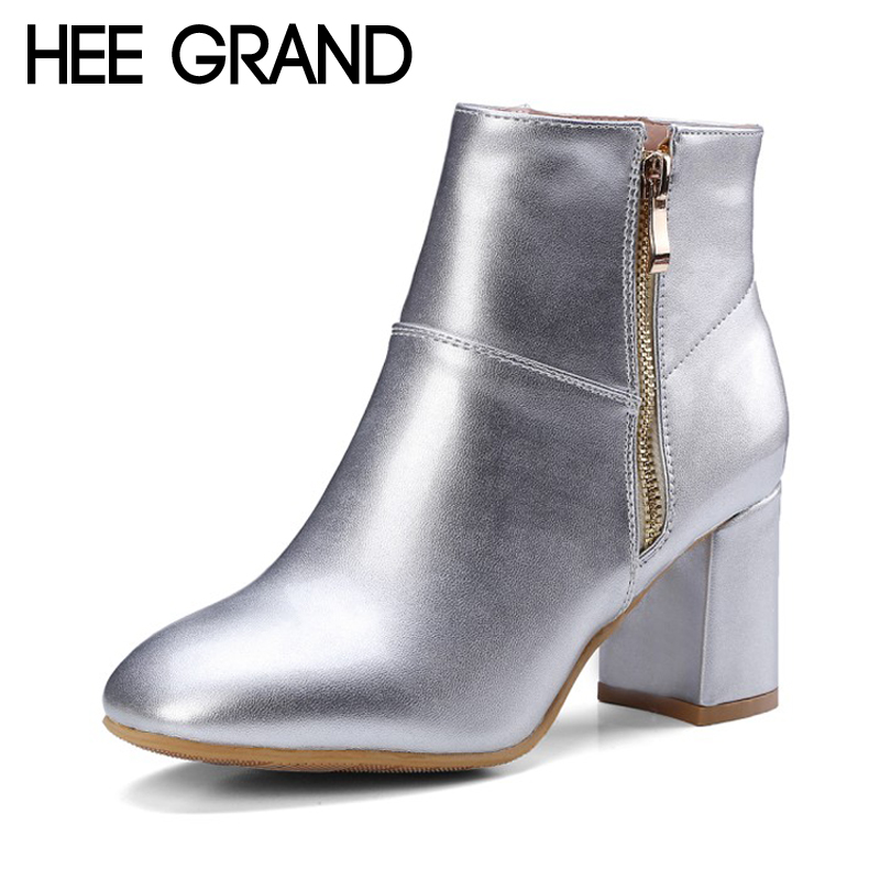 HEE GRAND Winter Warm Sexy Ankle Boots Women Square Toe Shoes zip on Solid PU Silver Gold Ankle Boots Shoes Size 35-43 XWX6401 hee grand women ankle boots for 2017 new autumn solid pu pumps shoes pointed toe high heels boot shoes woman size 35 43 xwx4253