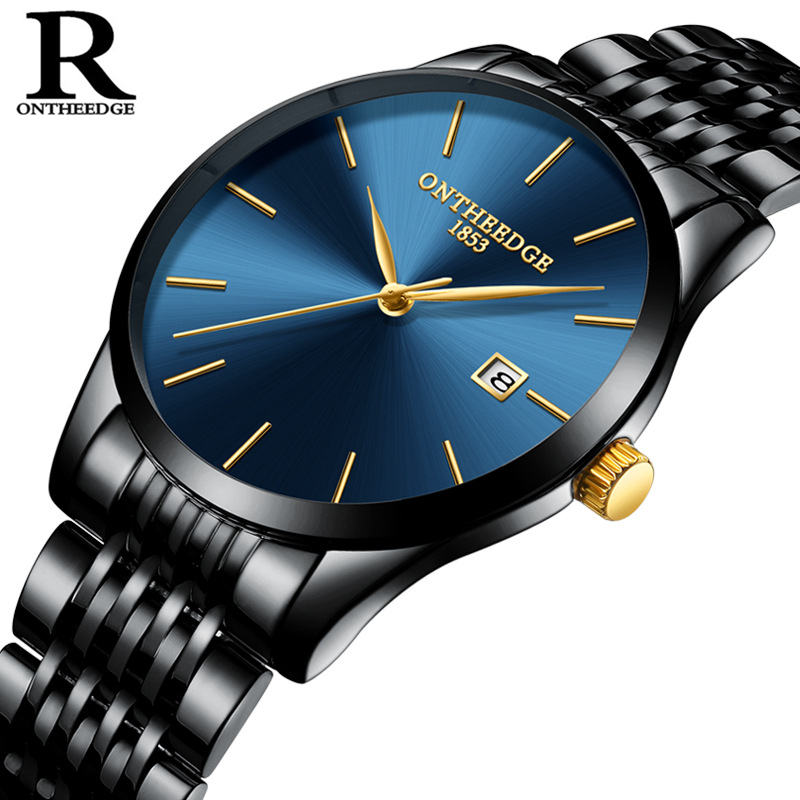 OnTheEdge Top Brand Business wristwatch hot Ultra Thin casual Quartz Watches for man Full Stainless Steel male Watch clock статуэтка thin man