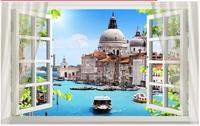 3D living room simulation fake window wall stickers beautiful landscape painting beach castle house wall paper living room decor