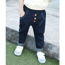 2016 new winter fashionable jeans slim boy child elastic thin trousers child feet