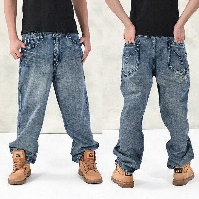HOT New 2019 Large Size 30 44 46 Jeans Fashion Loose Big Pockets Hip Hop Skateboard Casual Men Denim Blue amp Black Design Brand in Jeans from Men 39 s Clothing