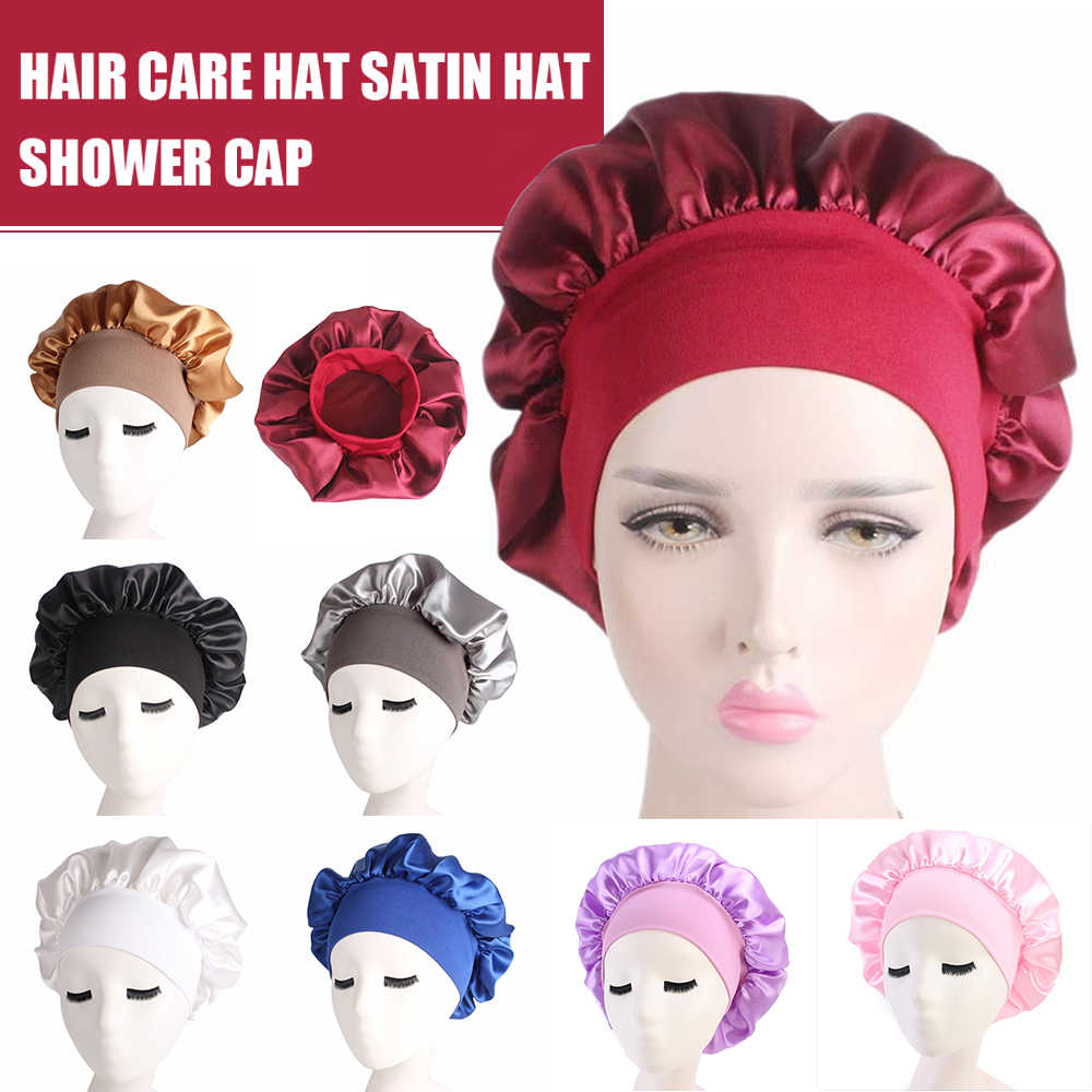 58 cm Düz Renk Uzun Saç Bakımı Kadın Saten Bonnet Kap Gece Uyku Şapka Ipek Kafa Şal Ayarlamak duş boneleri