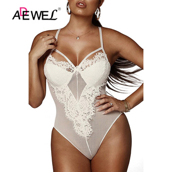 SEBOWEL Sexy White Lace Mesh Transparent Sleeveless Bodysuit Women Black Eyelash Body Suit Tops Teddy Bodysuits Rompers