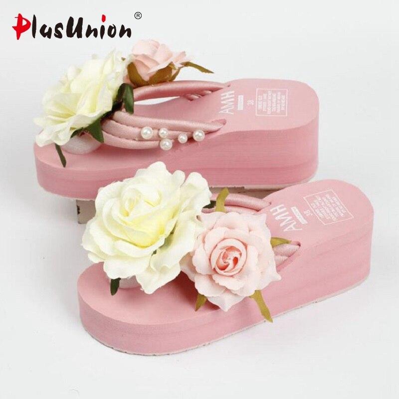 Light Pink 2017 Summer Lady Flower Wedge Sandals Platform Shoes Women For Hot Holiday Cool Soft Female Sandal Non-Slide