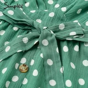 Image 5 - Simplee Sexy v hals polka dot groene zomer jurk vrouwen 2019 Casual ruffle midi jurk Elegante vakantie strand vrouwelijke vestidos festa