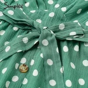 Image 5 - Simplee סקסי V צוואר מנוקדת ירוק קיץ שמלת נשים 2019 מקרית לפרוע midi שמלה אלגנטי חג חוף נקבה vestidos festa