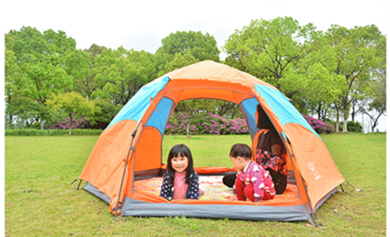 Outdoor waterproof portable 5-8 person 2 layer 1 door anti-sun anti-insect windproof large space shade 6side camping hiking tent high quality outdoor 2 person camping tent double layer aluminum rod ultralight tent with snow skirt oneroad windsnow 2 plus