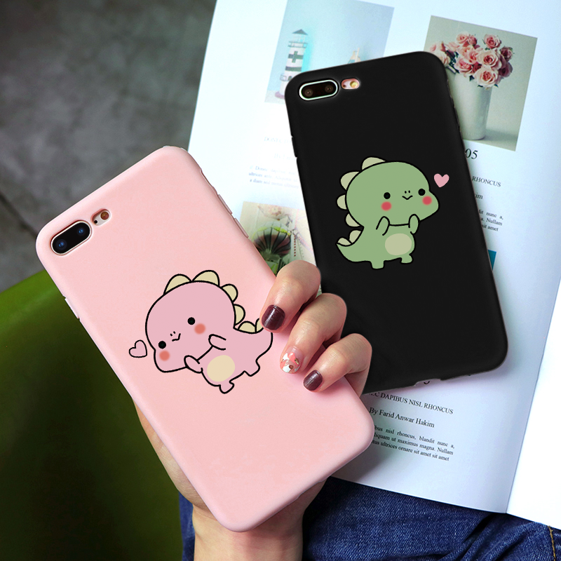 Cute <font><b>Dinosaur</b></font> Couple Silicone <font><b>Cases</b></font> For <font><b>iphone</b></font> XR X XS Max <font><b>7</b></font> 8 6 6S Plus Cute Candy Color Soft Simple Fashion TPU Phone <font><b>Case</b></font> NEW image