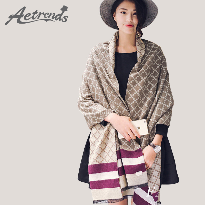 [AETRENDS] Winter Women Scarves Cashmere Plaid Scarf Double Sides Pashmina Shawl Z-3424