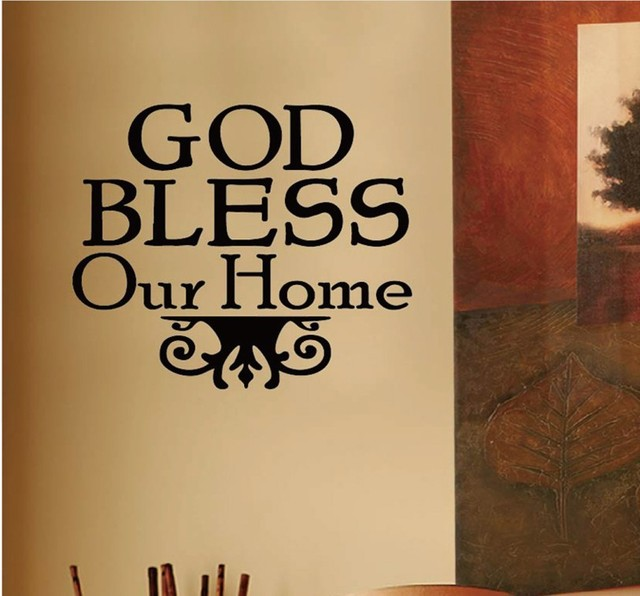 Free shipping God Bless Our Home 40cmx40cm Text Wall Sticker ...