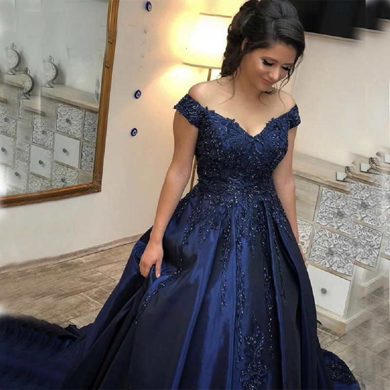 Modest Off The Shoulder   Prom     Dresses   Appliques Beaded Navy Blue Satin Evening Party   Dresses   robe de bal longue Formal Party Gown