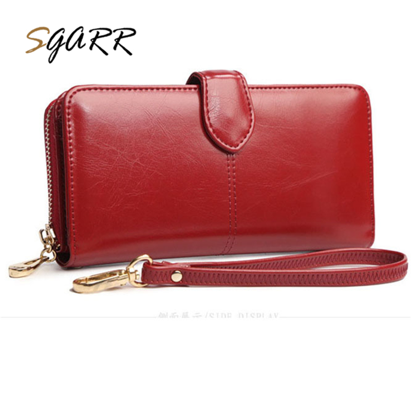 SGARR Famous Brand Wallet Long Women Purse Wine Red Fashion Color With Card Photo Holder Coin Pocket Female Leather Wallet Purse