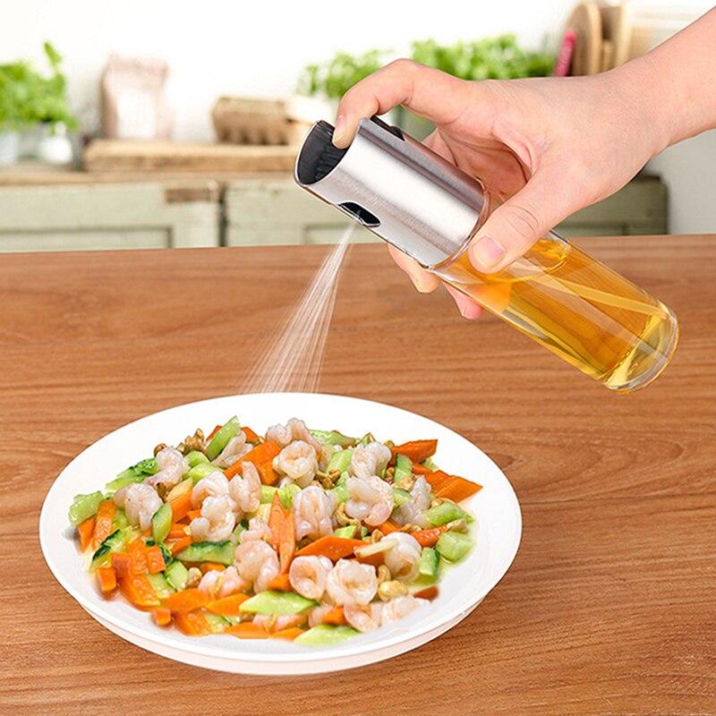 De alta calidad de aceite de oliva de vidrio del rociador aerosol de aceite botella vacía botella de vinagre de botella de dispensador de aceite para cocinar ensalada de cocina para hornear