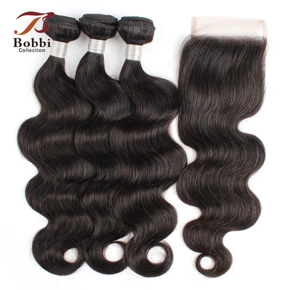 BOBBI COLLECTION Indian Body Wave Bundles With Closure 10-26 Inch 2/3 Bundles Remy Human Hair Weave Extensions Natural Color