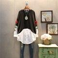 [XITAO] 2017 весной новые модные женщины вышивка цветок тяжелый процесс длинный пуловер круглым воротом шить толстовка ABB011