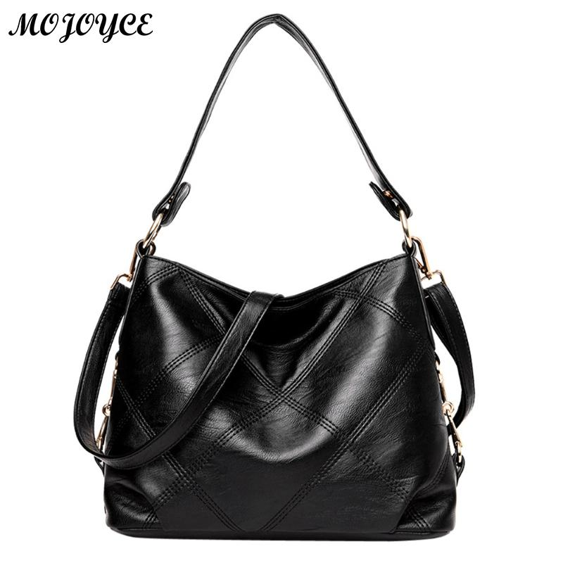 2018 New Women Bag Lady Top-handle Bags Handbags Women Famous Brands Female Stitching Casual Big Shoulder Bag Soft Tote for Girl 3 pcs set vintage handbags women messenger bags female purse solid shoulder bags office lady casual tote new top handle bag