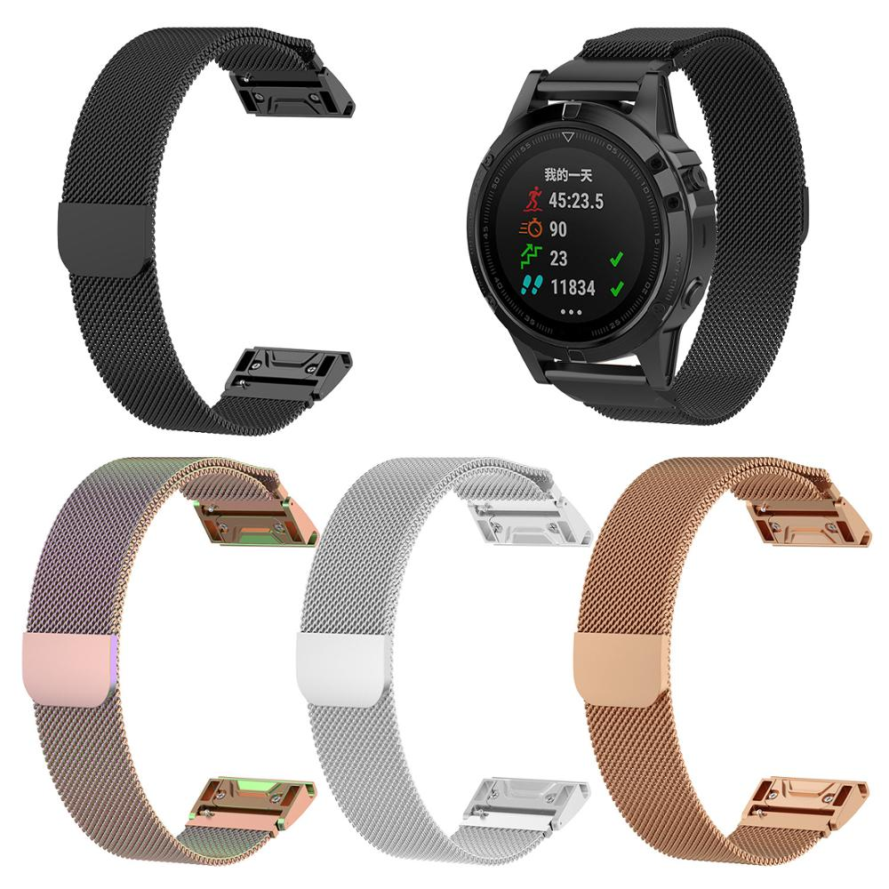 <font><b>20mm</b></font> 22mm 26mm Milan Magnetic Watch <font><b>Band</b></font> Strap for <font><b>Garmin</b></font> Fenix 5 5S 5X Metal steel Quick Fit Watchbands For Forerunner 935 945 image