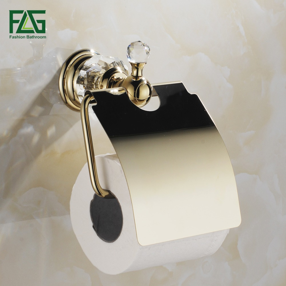 FLG Free Shipping Crystal & Brass Gold Paper Box Roll Holder Toilet Gold Paper Holder Tissue Box Bathroom Accessories 87509 flg free shipping crystal
